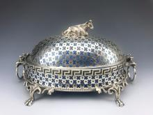 19th C. Silver Plated & Opaline Butter Covered Dish