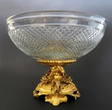 French Baccarat Crystal & Figural Bronze Centerpiece