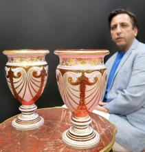 Large 19th C. Pair of Bohemian Moser Vases