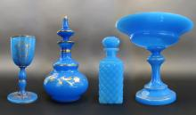 Lot of 4 Opaline Glass Attributed to Baccarat