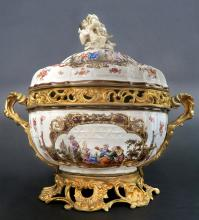 Large KPM Style Bronze Mounted Centerpiece, 19th C.