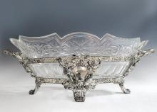 French Silver-Plate & Baccarat Crystal Centerpiece