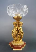 Large Figural Bronze Baccarat Centerpiece. 19th C.
