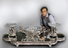 French Christofle Three-Piece Table Garniture / Plateau