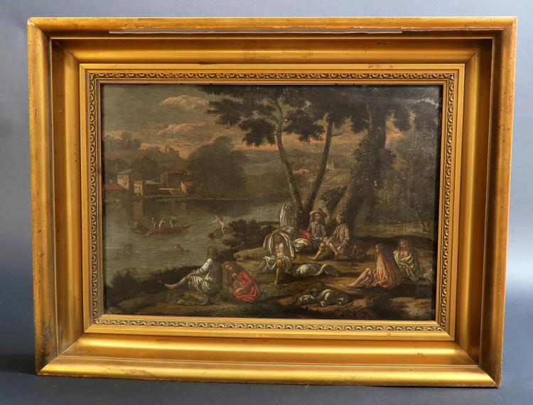 "18th C. Painting Oil on Board ""Public - 69.5KB"