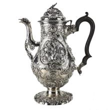 A Regency Sterling Silver Coffee Pot by William Fountain