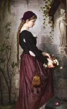 KPM Hand Painted Porcelain Plaque, 'Marguerite at the Shrine' by Baptiste 19th C