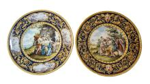 Pair of Large Italian Faience Chargers