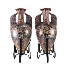 19th C Pair Alhambra Glazed Pottery Amphora Urns