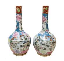 Large Japanese Polychromed Porcelain Vases, c1900