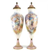 Pair of Sevres Porcelain Lidded Urns 26