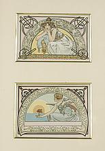 Alphonse Mucha (Czech, 1860-1939) Two postcards