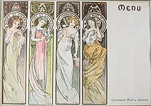 Alphonse Mucha (Czech, 1860-1939) Menu Cards