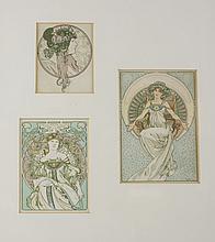 Alphonse Mucha (Czech, 1860-1939) Three Postcards
