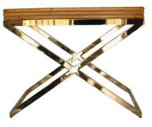 Stylish Bamboo and Brass Bar Table by Milo Baughman