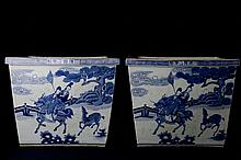 Pair of Large Blue & White Vats