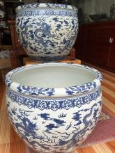 A Large Pair of Blue and White Porcelain Dragon Fishbowl