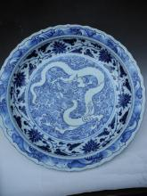 A Blue and White Dragon Dish