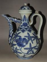 An Exquisite Blue and White Porcelain Teapot