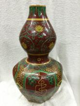 A Rare Wucai Porcelain Double Gourd Vase