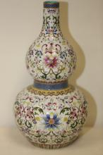 An Exquisite Famille Rose Double Gourd Vase