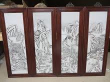 Four Large Chinese Porcelain Panels