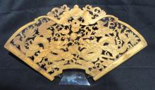 Chinese Dragon Carved Wood Panel