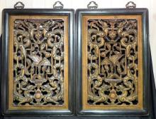 Two Chinese Heavily Carved Framed Panels