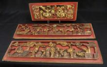 Three Chinese Carved Wood Red and Gold Panels