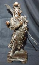 Large Chinese Carved Wood Warrior