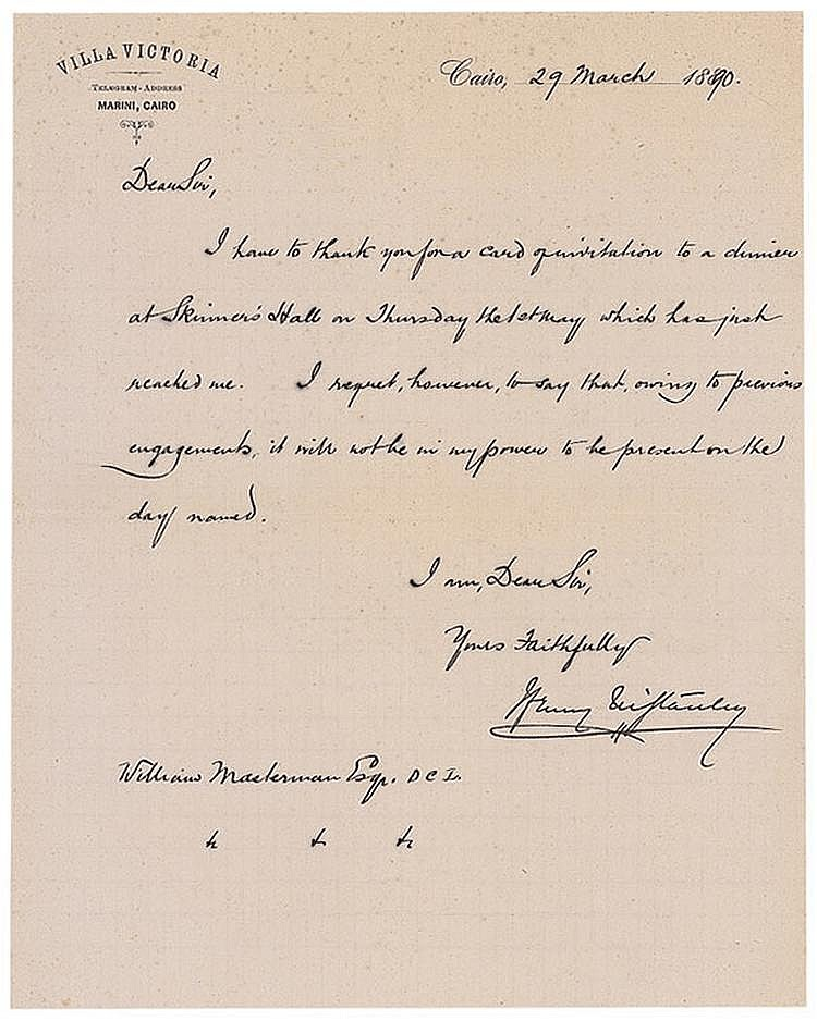 Autograph -   Henry M. Stanley