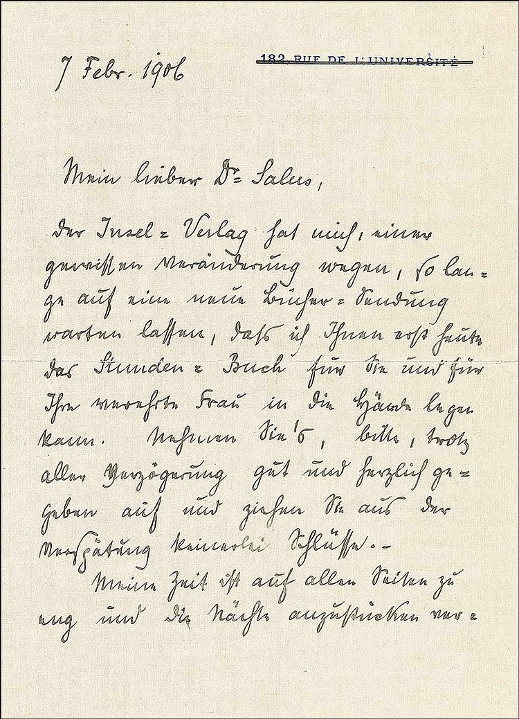 Rainer Maria Rilke: ALS in German, two pages on