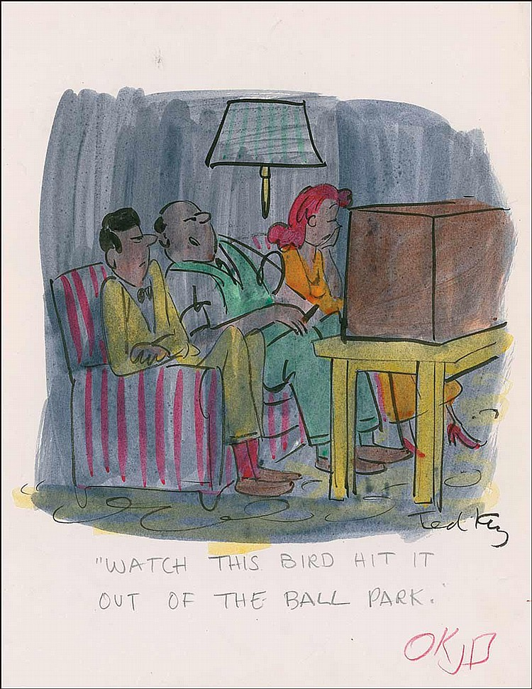 Ted Key: Original ink and watercolor cartoon on an