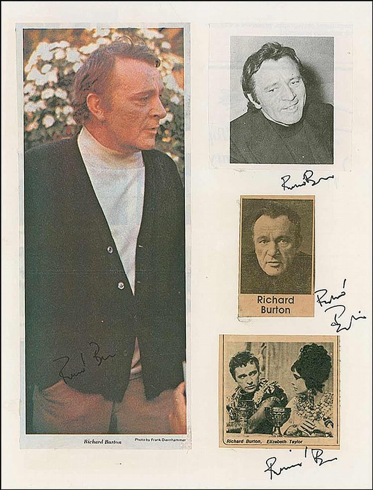 Richard Burton: Three felt tip signatures on an
