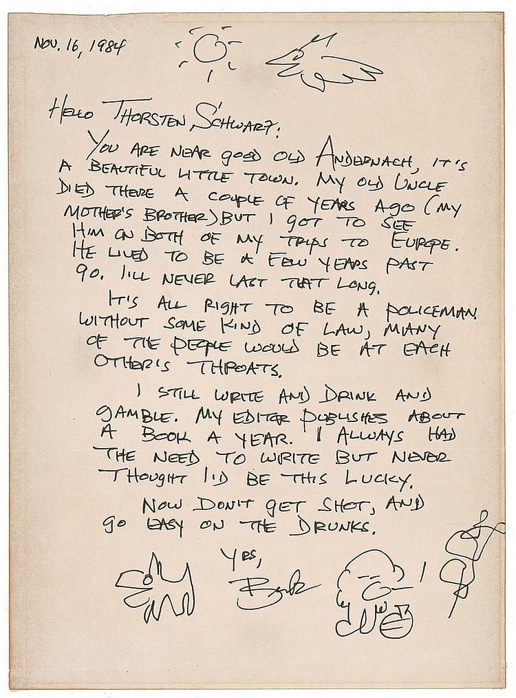 [ Autographs ]   Charles Bukowski