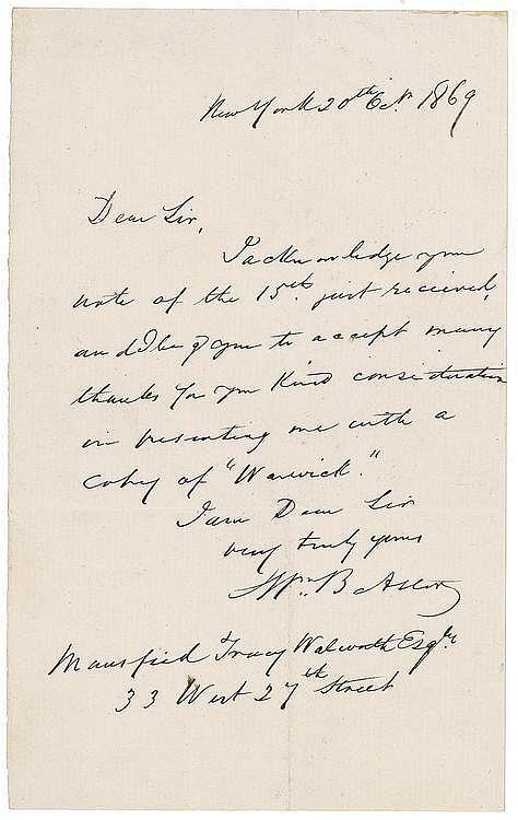 Autographs: William Backhouse Astor