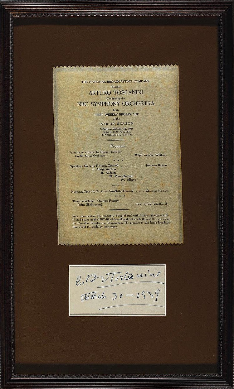 Rr Autograph Auctions Consignment Agreement: Autograph: Arturo Toscanini