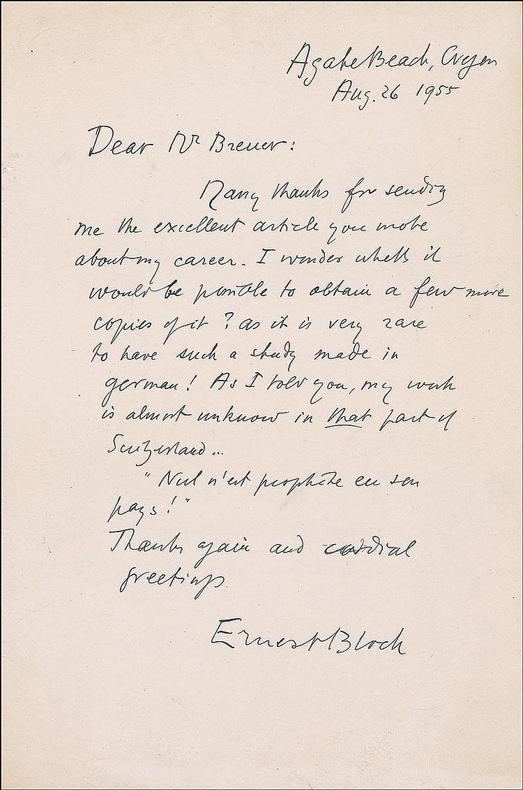 Autograph: Ernest Bloch