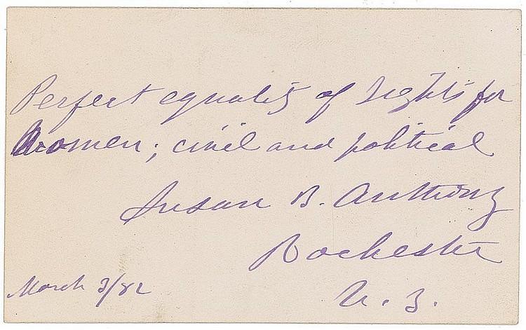 Autograph -  Susan B. Anthony