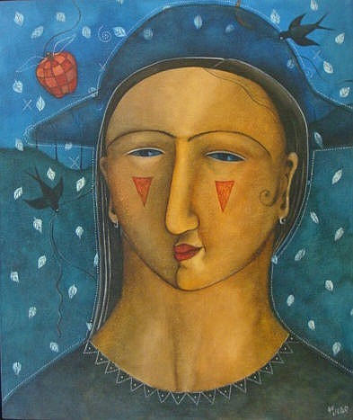 HANNETJIE DE CLERCQ (1958- ) PORTRAIT, Acrylic on
