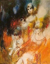 VALADIE, JOHNY XX LA COLOMBE 1968 Acrylic on