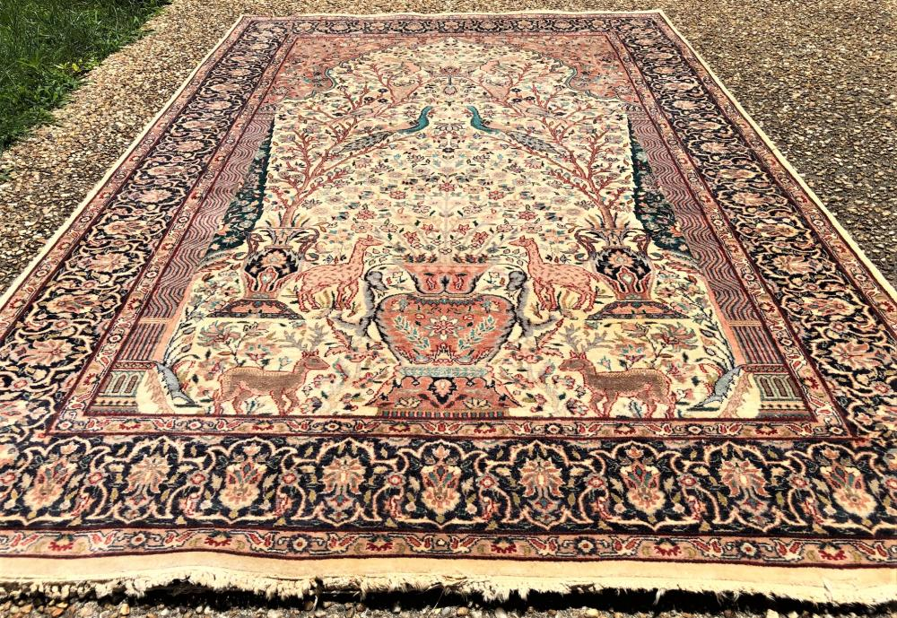PERSIAN SILK TREE OF LIFE HAND KNOTTED RUG - 4.8 x 6.11