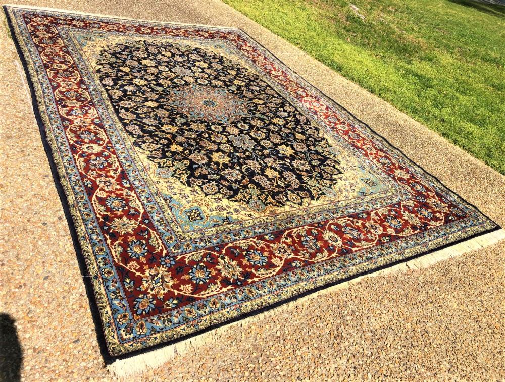 PERSIAN ISFAHAN HAND KNOTTED RUG - 8.4 x 12.2
