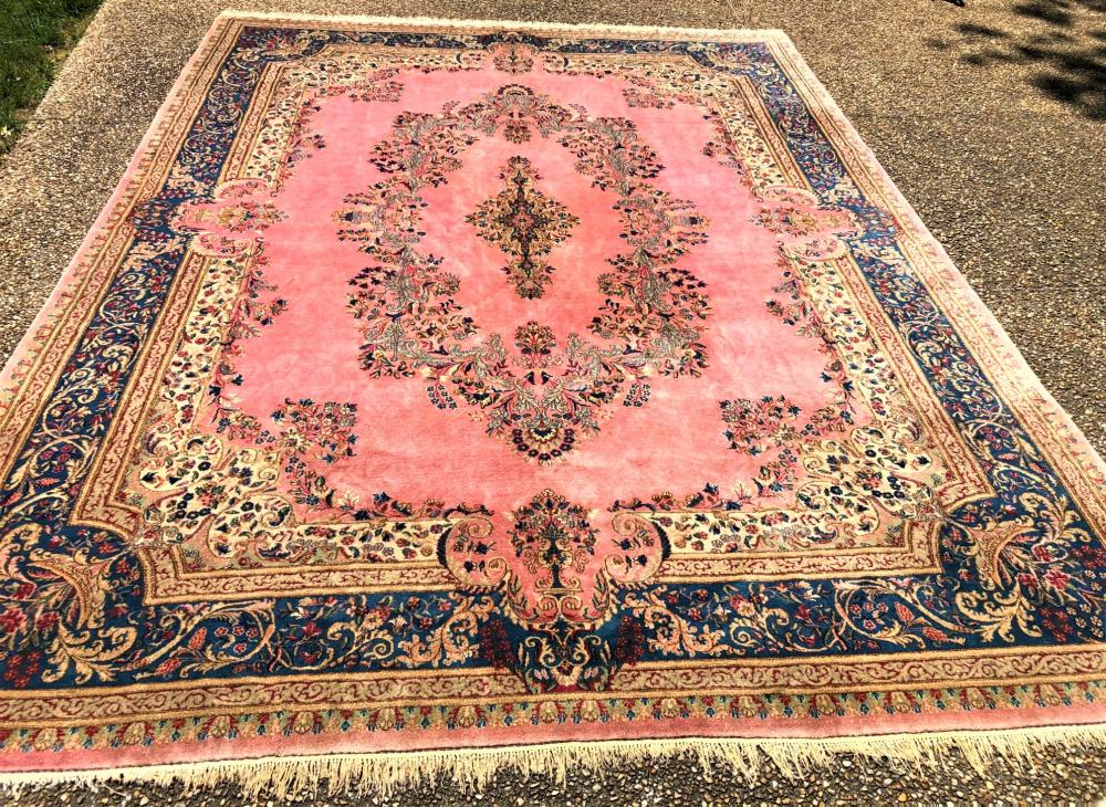 PERSIAN KERMAN HAND KNOTTED RUG - 9.8 x 13.0