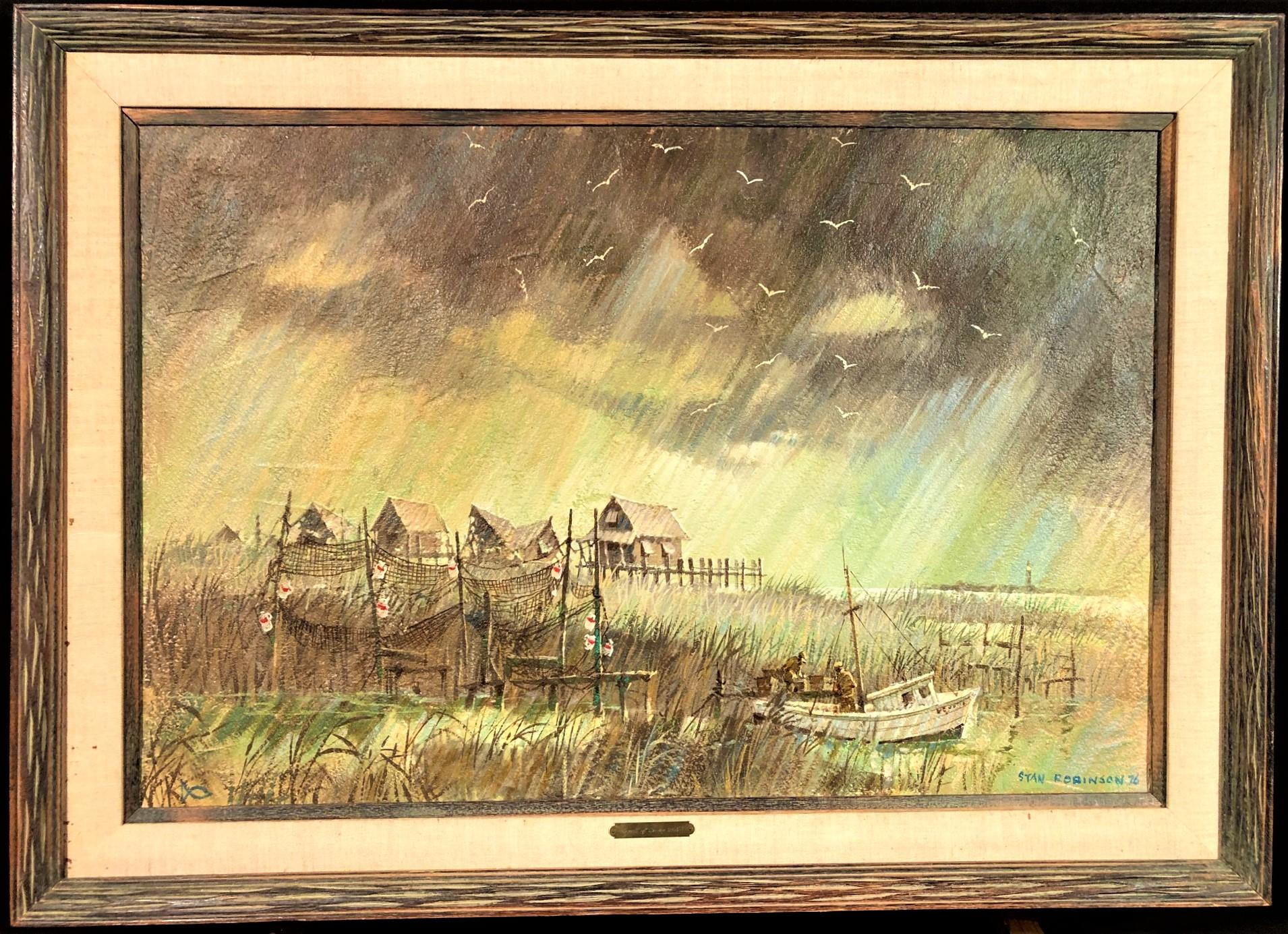 STAN ROBINSON (1927-1999) ORIGINAL ACRYLIC ON CANVAS FRAMED PAINTING - 42in x 30in x 1in