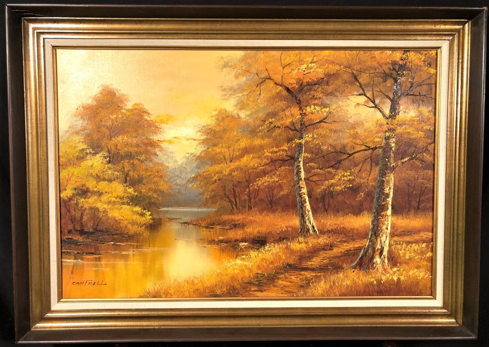 PHILIP CANTRELL (1922-Now) ORIGINAL OIL ON CANVAS LANDSCAPE FRAMED PAINTING- 31in x 42in