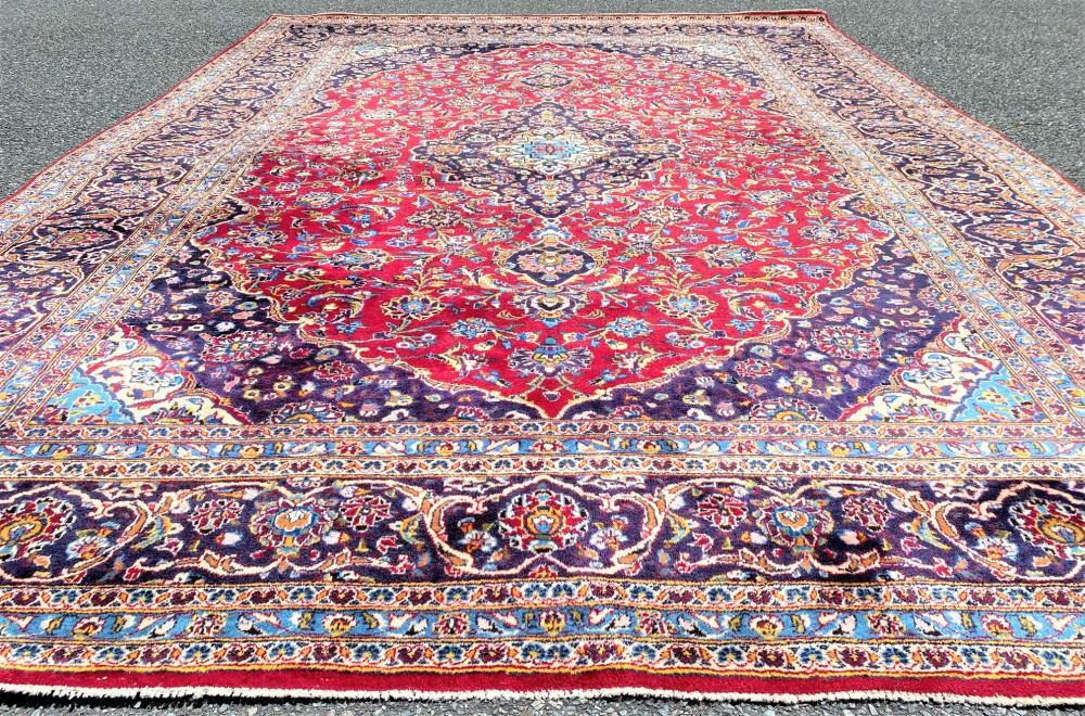 PERSIAN KASHAN HAND KNOTTED RUG - 7.11 x 11.7