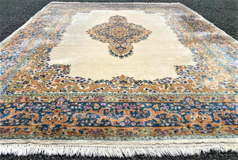 PERSIAN KERMAN HAND KNOTTED RUG - 9.0 x 11.10