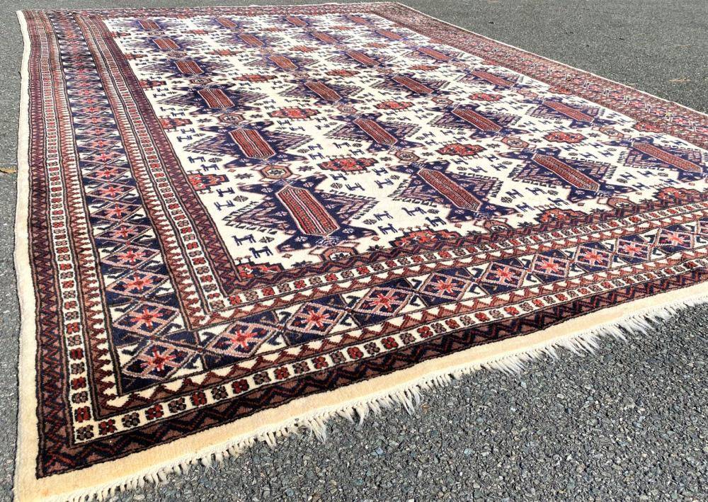PERSIAN PICTORIAL KAZAK HAND KNOTTED RUG - 8.6 x 12.3