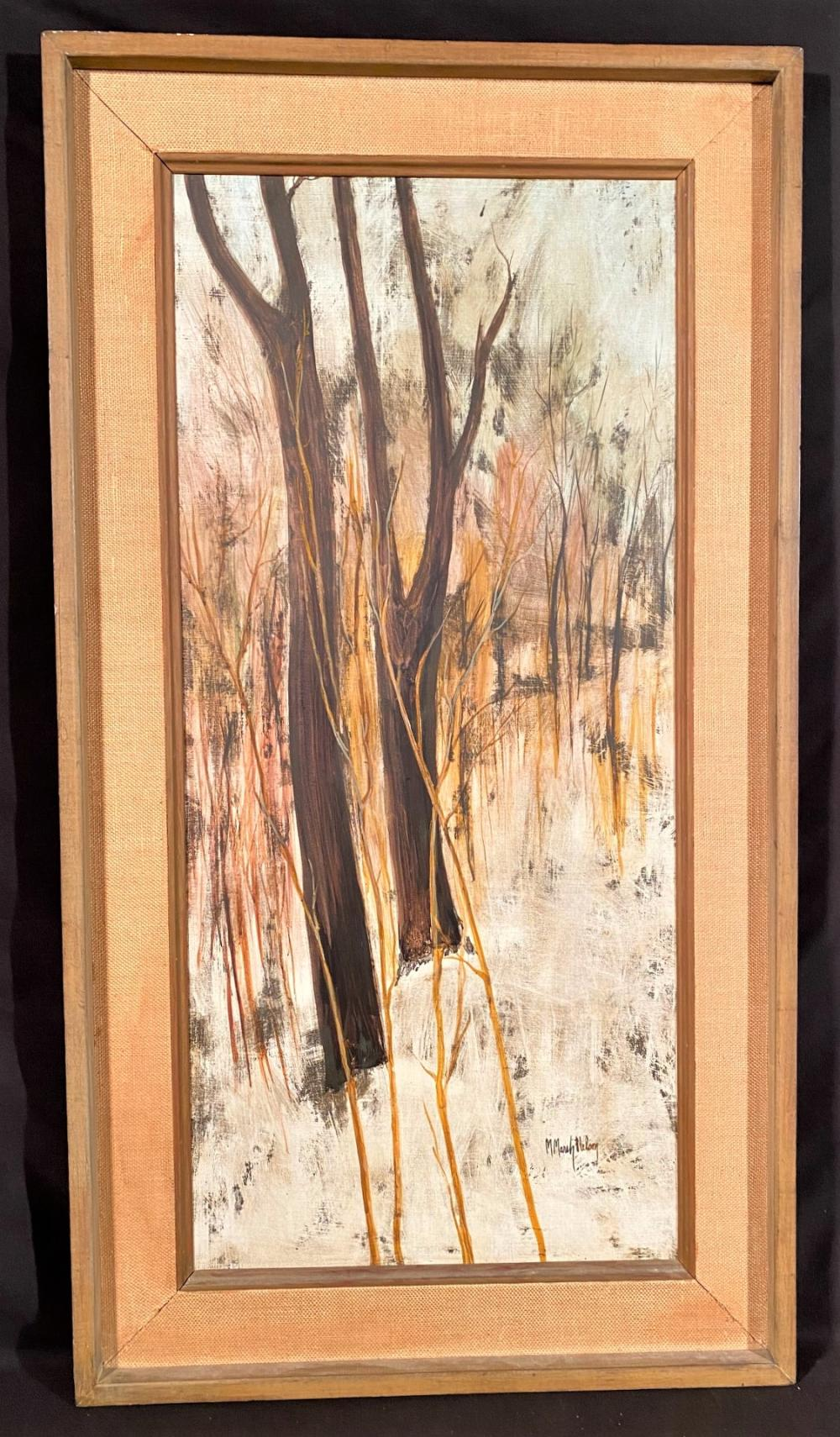 M. MARSH NELSON (20th CENTURY) ORIGINAL OIL ON CANVAS LANDSCAPE PAINTING TITLED WINTER DEEP - 23 IN x 42 IN